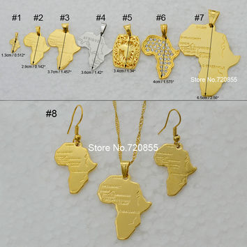 8 items map of africa pendant necklace chain 45cm/60cm african map set jewelry 18K real gold plated jewellry for women/men/Girl