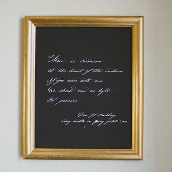No Light But Peonies Quote | Grace Conkling | Handwritten Calligraphy | Poetry Peonies Flowers Romantic White on Chalkboard Inspired