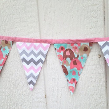 pink and gray chevron fabric banner pink elephant banner home decor