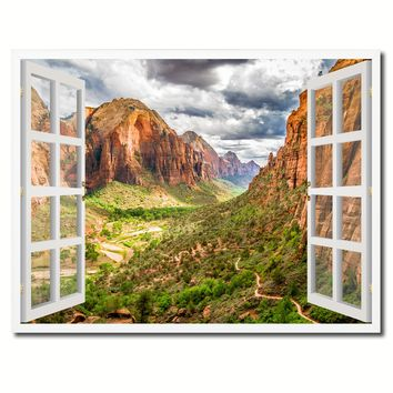 Landscape Zion National Park Picture French Window Framed Canvas Print Home Decor Wall Art Collection