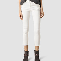 ALLSAINTS US: Womens Nim Highwaisted Crop Jeans (Chalk White)