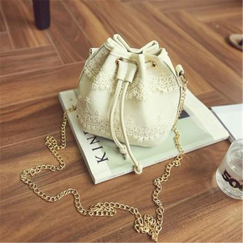 Bohemia Canvas Drawstring Lady Bucket Bag New Chains Shoulder Handbags Women's Vintage Messenger Bags