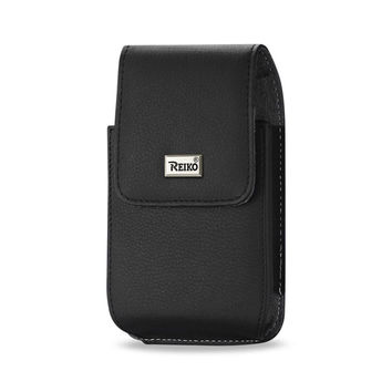 Reiko REIKO VERTICAL LEATHER POUCH IPHONE6-6S PLUS IN BLACK WITH MEGNETIC AND METAL BELT CLIP (6.62X3.46X0.68 INCHES PLUS)
