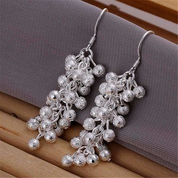 CLEARANCE - Tiny Dangling Grape Beads Silver Earrings