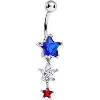 Red White and Blue Gem Patriotic American Stars Dangle Belly Ring