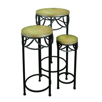 3 Piece Round Wood & Metal Planter Stand, Brown And Black