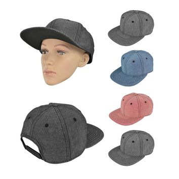 DALIX Flat Bill Snapback Chambray Hat 6 Panel Cap (Red, Blue, Black, Gray)