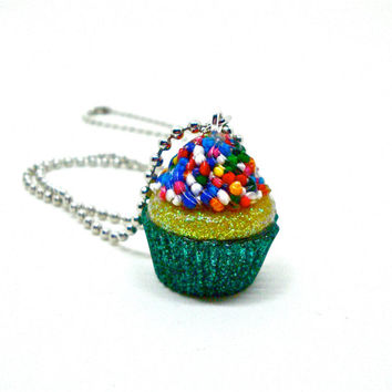 Cupcake necklace, cupcake charm, cupcake pendant, candy resin jewelry, sprinkles pendant, kawaii necklace, food jewelry