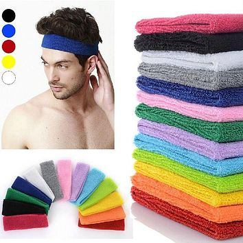 Women Mens Sports Headband Cotton Hairband Stretchy Sweatbands M Hair Head Band Ladies Headwear Hair Accessories
