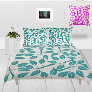 Duvet Cover - 3 different sizes, Without Insert, Bedroom, Home decor, Teal, Purple, Leaves, Floral, With or Without Shams, White, Nature