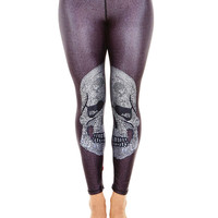 Womens Crystal Skull Performance Leggings