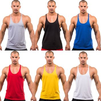 Mens Plain Gym Vest Bodybuilding Fitness Tank Tops Sleeveless Athletic T-Shirt