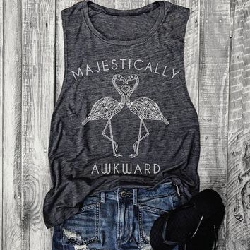 Women Flamingo Printed Tank Funny Letter Printed Sleeveless Dark Gray O Neck Tops Tumblr Casual Female Workout Vest Camisole