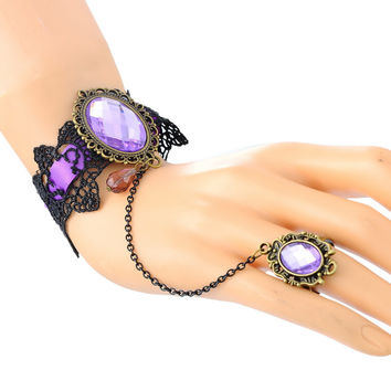 Jewelry Set Purple Cameo Lace Bracelet Chain Finger Ring