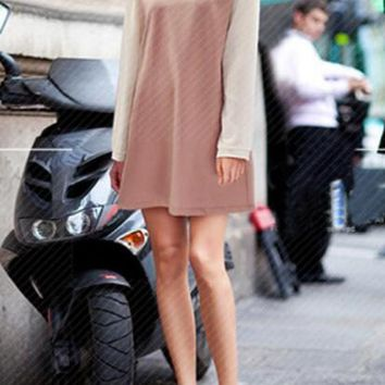 Streetstyle  Casual Pink Patchwork Draped Peter Pan Collar Lantern Sleeve Plus Size Mini Dress