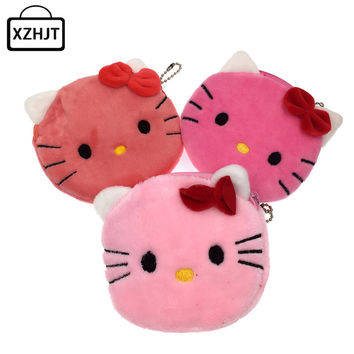 New 2016 Cartoon Hello Kitty Children Plush Coin Purse Kawaii Zip Change Purse Billeteras Monedero Kids Girl Women For Gift
