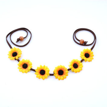 Sunflower Crown Floral Halo Flower Crown Festival Headpiece Gypsy Hippie Bohemian Headwrap Sunflower Headband Yellow Sunflower Halo