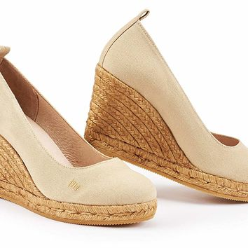"VISCATA Marquesa 3.25"" Wedge Pump, Canvas, Slip-on, Closed Toe, Espadrilles Heel Made in Spain"