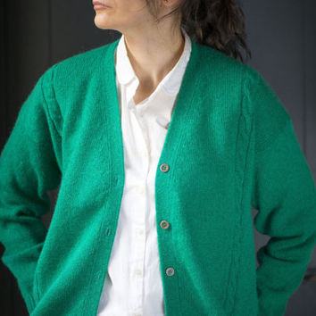 Vintage 80s cardigan green - woman sweater oversized - sheep wool cardigan - sweater pullover XL chunky - size 14 green cardigan summer