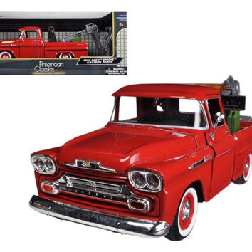 1958 Chevrolet Apache Fleetside Pickup Tow Truck Red 1-24 Diecast Model Car by Motormax