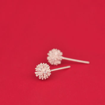 925 Sterling Silver Dandelion Stud Earrings For Women Casual Girl Sterling-silver-jewelry