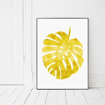 Tropical Leaf, Yellow Monstera Leaf, Yellow Modern Art, Triangle Print, Scandinavian Art, Tropical Decor, Affiche Scandinave Jaune