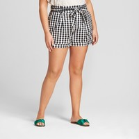 Women's Plus Size Gingham Paperbag Waist Shorts - A New Day™ Black/White