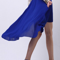 Royal Blue High Low Skirt [NCSTD0137] - $25.00 :