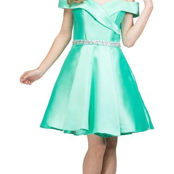 Off-Shoulder Homecoming Short Dress with Pockets Mint