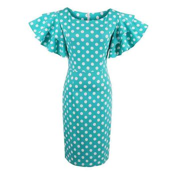 Petal Sleeve Cute Polka Dot  Female Sheath Round Neck Slim Dresses
