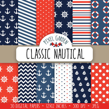 Nautical Digital Paper Pack, Sea Themed Scrapbooking Paper, Digital Clip Art, Polka Dot Printable Paper. Navy Digital Garhics.