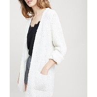 textured sweater knit long sleeve open front cardigan with pockets - natural