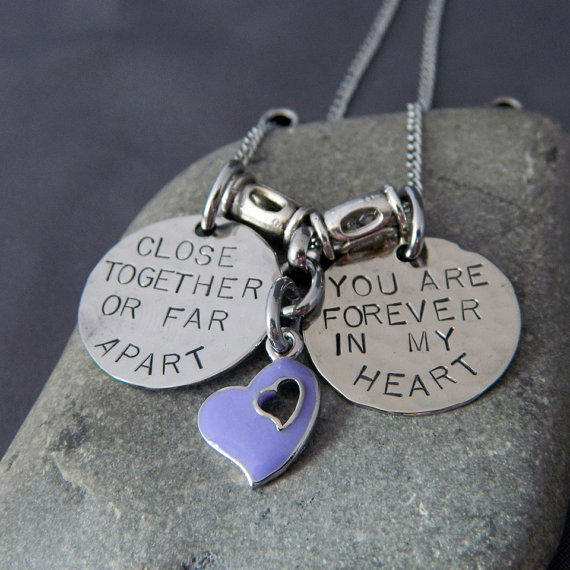 Close Together or Far Apart, You Are Forever in my Heart Silver Handstamped Necklace
