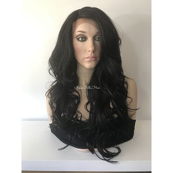 Loose Body curls blend Human Hair lace front wig 24""