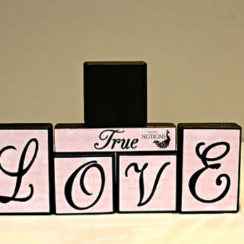 True Love Wood Blocks Decor, Valentines Decor, Valentines Gift, True Love Picture Block