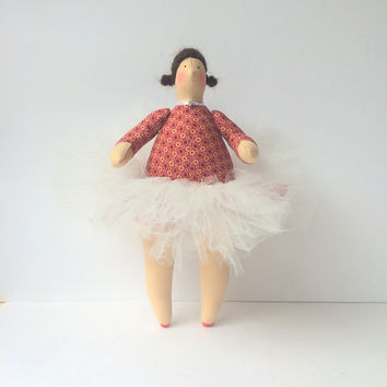 "Ballerina doll, fabric doll. Cute curvy ballet admirer in a great tutu skirt. 11"" doll. Brunette funny doll. Sweet gift for any girl )"