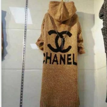 Chanel Hooded sweater knit grey cardigan