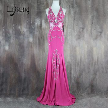 Beaded Halter Prom Dress Mermaid Long Sexy Prom Party Gowns Open Back Classic Women Formal Christmas Dresses Vestido de Festa