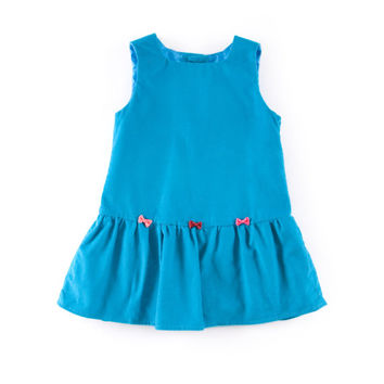 Baby pinafore dress in turquoise corduroy cotton, with 3 little bows