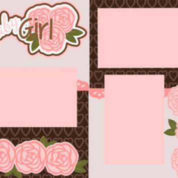 Sweet Baby Girl 12X12 Premade 2-page Scrapbooking Page Layout