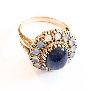 Sapphire and Opal Ring, Gold, Art Deco Vintage Jewelry SALE