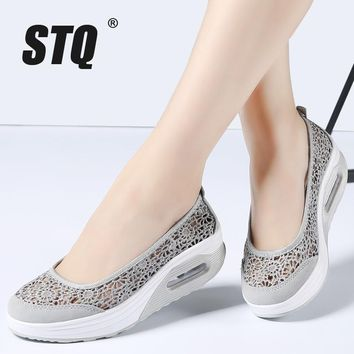 STQ 2017 Summer Hollow Lace women flat platform shoes women breathable mesh casual shoes thick sole heel ladies shoes 9001