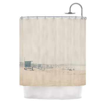 "Laura Evans ""Summer Haze"" Coastal Brown Shower Curtain"