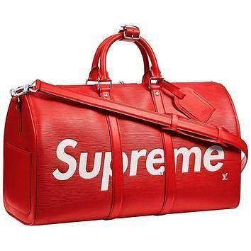 Tagre™ Louis Vuitton X Supreme Red Epi Keepall Bandouliere Duffle Bag 45