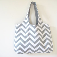 Gray Chevron Tote, Chevron Beach Bag, Library Bag, Gym Bag, Made to Order