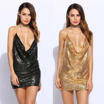 2017 Party Summer Back Women'S Size Clothes Sequined Women Beach Long Spaghetti Clothing Hollow Strap Mini Dresses Bodycon Dress
