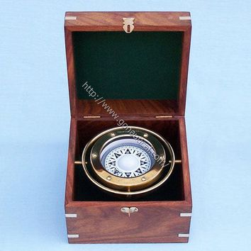 "Brass Gimble Compass 6""  - Compasses -  Wooden Ship Models, Nautical Decor & Gifts - GoNautical"