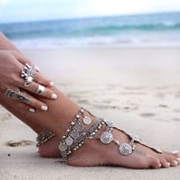 Bohemian Moon Lovers Turkish Coin Silver Antalya Anklet Gypsy Beachy Coachella = 1928844932