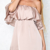 Off The Shoulder Ruffle Chiffon Dress