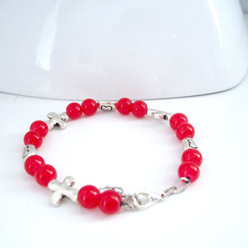 Cross Bracelet, Christian Jewelry, Bohemian Bracelet, Red and Silver Bracelet, Boho Jewelry, Christian Bracelet, Cross Jewelry,